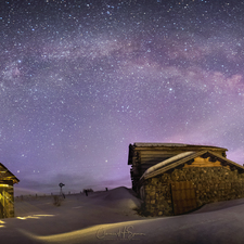 01 Outhouse, Cabin and Milky Way (Winter) Pano - Full Spectrum